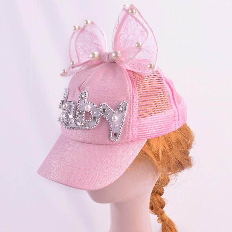 Nơ trẻ em Mũ bóng chày cho bé gái LƯỚI MÙA HÈ Mũ Mũ lưỡi trai nửa đầu ren ngọc trai