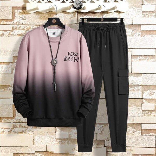 Men Tracksuit Gradient Color Casual Hoodies Sets Male Fleece Hoodies+Pants Two Piece Sets Hip Hop Streetwear Sports Suit Clothes