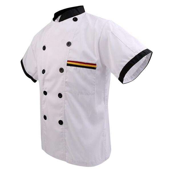 Perfk Men Women Chef Uniform Double Breasted Cook Jacket Coat Short Sleeve
