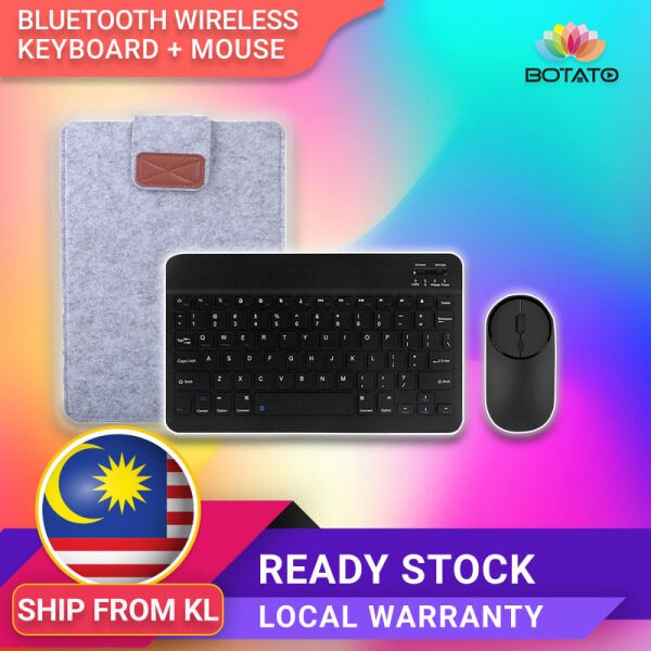 [[Ready Stock In KL]]Mini Wireless Keyboard Rechargeable Bluetooth Keyboard with Mouse and Leather Pouch for Tablet/PC/Phone [[Botato Electronics]] Malaysia