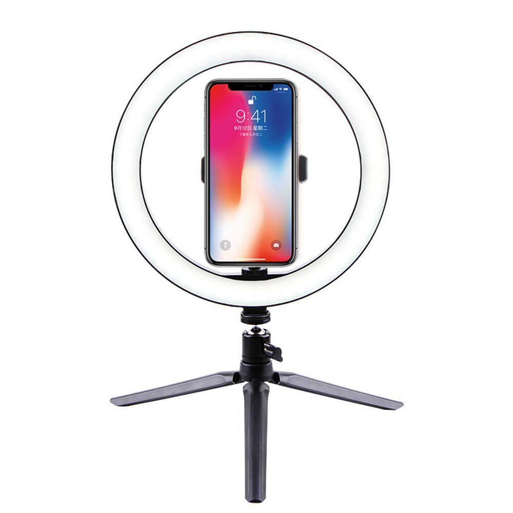 efuture 1 set (2 pieces) mini desktop stand self-timer photography ring beauty fill light built-in mobile phone clip