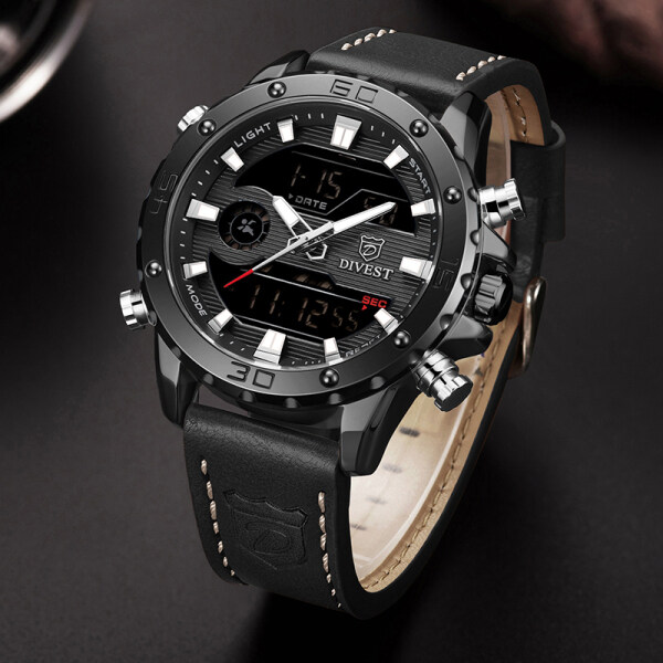 DIVEST Top Luxury Brand Fashion LED Digital Watches Mens Chrono Sport Casual Leather Strap Quartz Waterproof Military Mens Watch Malaysia