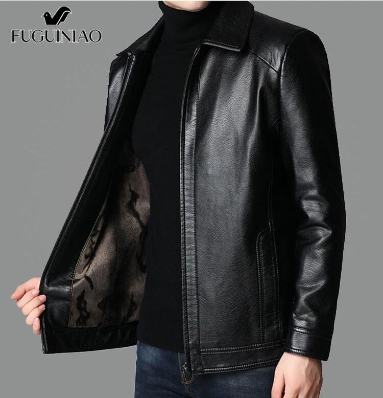 Fuguiniao Men Casual แจ็คเก็ตหนังแฟชั่นเสื้อโค้ทหนังพียู Pure M-3xl.