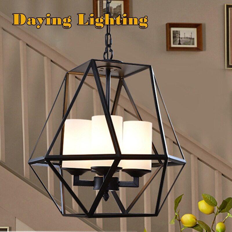 Loteng retro lampu gantung angin industri, kepribadian kreatif industri lampu gantung kaca ruang tamu pencahayaan ruang makan