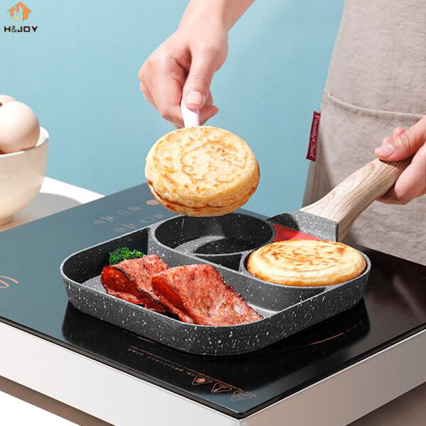 Chảo Omelet Chống Dính, Dụng Cụ Làm Bánh Kếp Giăm Bông Trứng Burger Bít Tết 3 Lỗ H & JOY