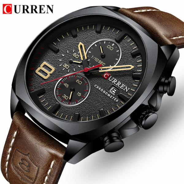 CURREN Top Brand Mens Sport Watches Fashion Leather Strap Quartz Clock Men Casual Waterproof Chronograph Date Watch Malaysia