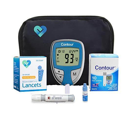 OWell Contour Diabetes Testing Kit Contour Blood Glucose Meter, 10 Contour Blood Glucose Test Strips, 50 O'well Lancets, O'well Lancing Device, Control Solution, Log Book, User Manuals and Carry Case