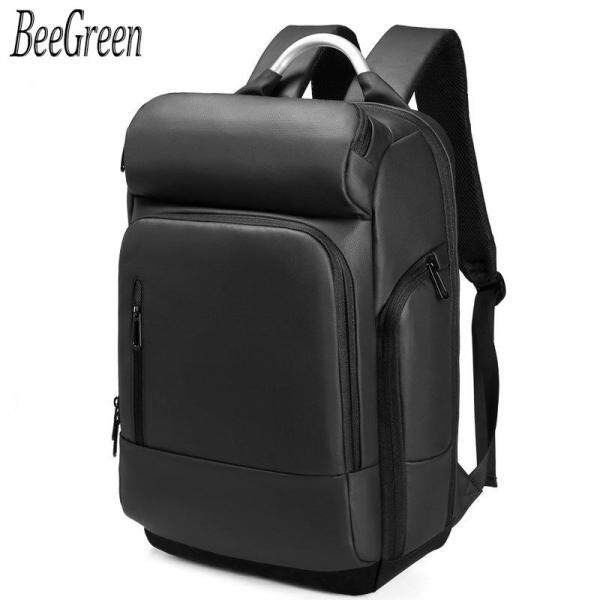 BeeGreen Male High Quality Metal Handle Laptop Backpack Business Travel Backpack for Men Classic Black Backpack for Men