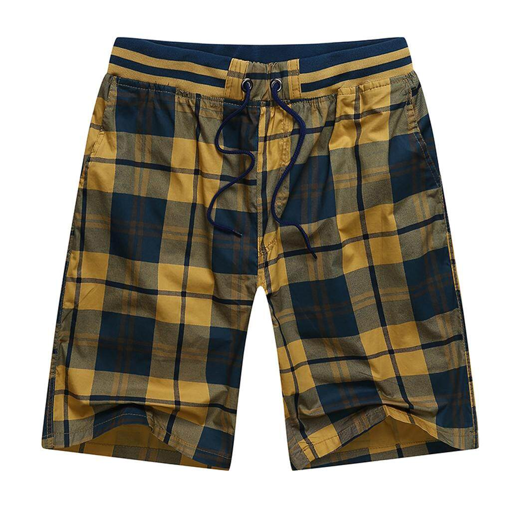 Mobilone Mens New Summer Casual Lattice Printing Cotton Loose Sport Beach Shorts Pants By Mobilone.