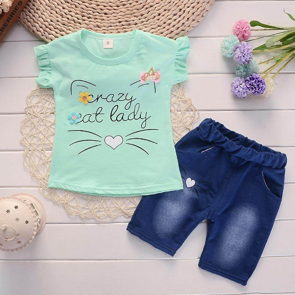 b7c28ae9ec9e Aynshop Toddler Baby Girls Short Sleeve Cartoon Print Tops+Denim Shorts Set  Outfits