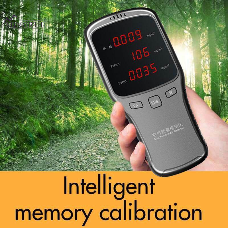 Mingrui 1200mAh LED Display Silver Gray ABS Air Quality Detector Smog Detector Formaldehyde Detector Practical Portable Durable TVOC Smart Monitor Household