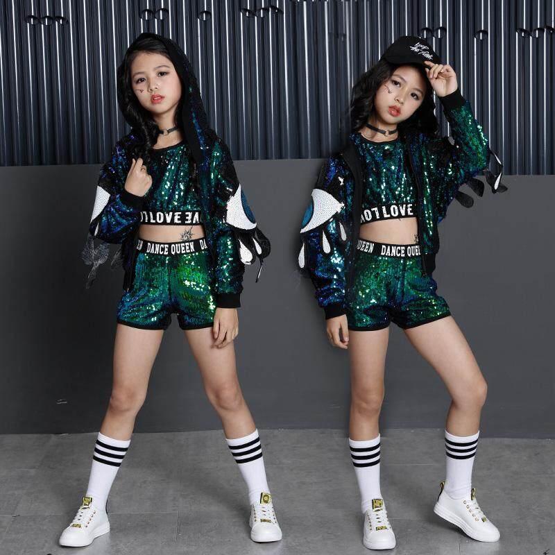 Trang phục Trẻ Em Bé Gái Công Chúa Bộ Trẻ Em Trang Phục Kim Sa Lấp Lánh Hip Hop Jazz Khiêu Vũ Trang Phục cho Bé Gái Quần Áo Trẻ Em