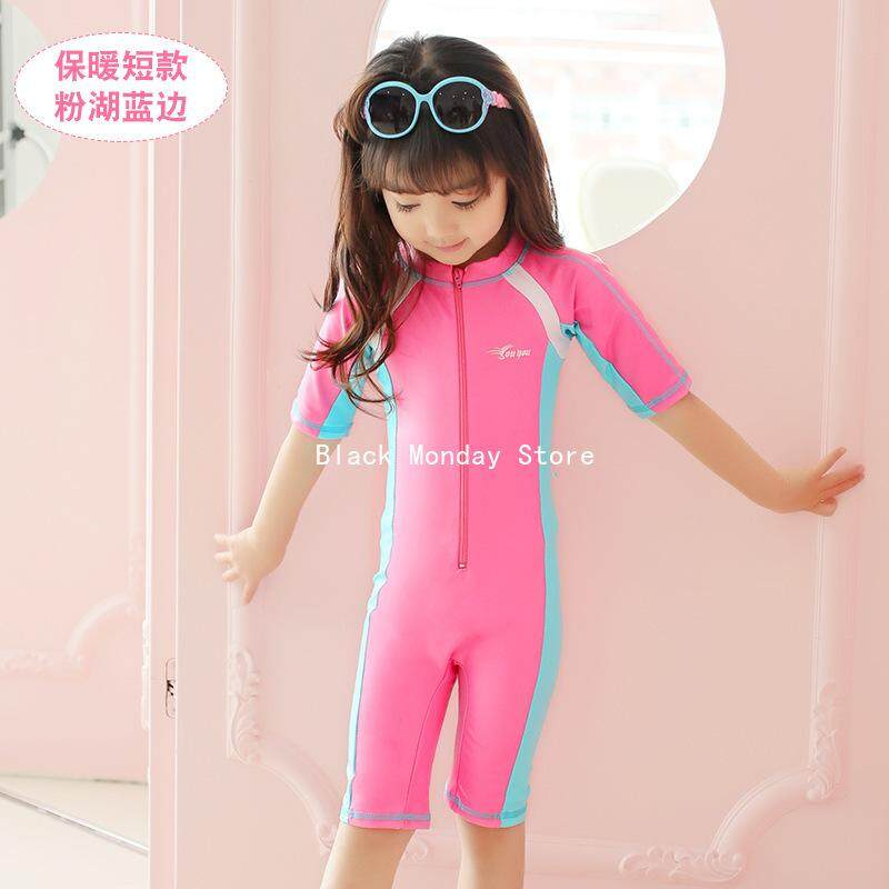 Bm New Childrens Swimwear Short-Sleeved Swimsuit Men And Women Swimwear By Black Monday.