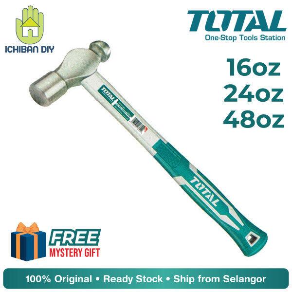 Total Ball Pein Hammer 16oz/24oz/48oz THT74166 THT74246 THT74486 Tukul Besi Mata Bongkol Bulat Tool Toolset [ichiban DIY]