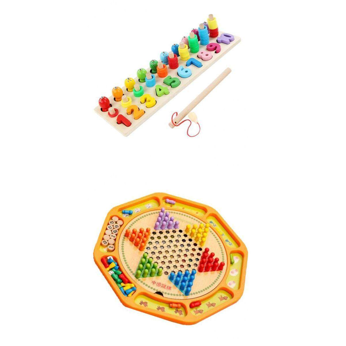 Perfk Chinese Checkers 12 Wooden Chessboard with Wooden Fishing Toy for Kids Play