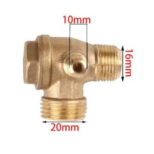 3 Way Copper Threaded Check Valve Connector Tool for Air Compressor Replacement Parts
