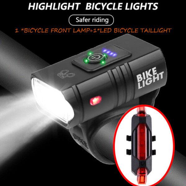 Đèn LED xe đạp 10W 800LM 6 chế độ, Đèn Trước MTB có thể sạc lại bằng USB (1 đèn trước xe đạp + 1 cáp USB + 1 Đèn hậu xe đạp LED)