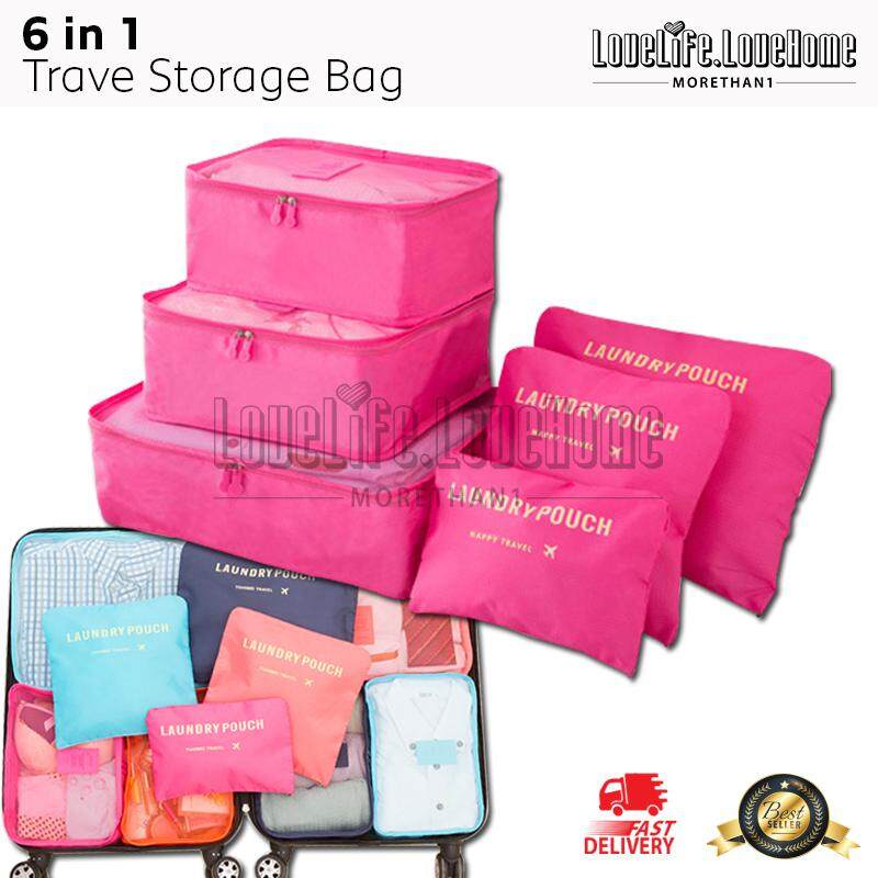 Travel 6 in 1 Clothes Storage Bags Packing Cube Travel Luggage Organizer Bag Travel Packing Pouches