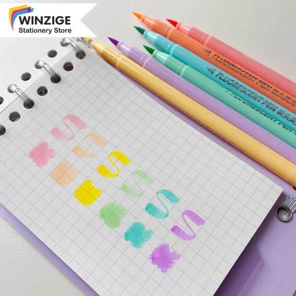 Bút Lông Màu Kẹo Winzige, Bút Đánh Dấu 6 Màu Vật Tư Nhật Ký, Văn Phòng Phẩm Vẽ