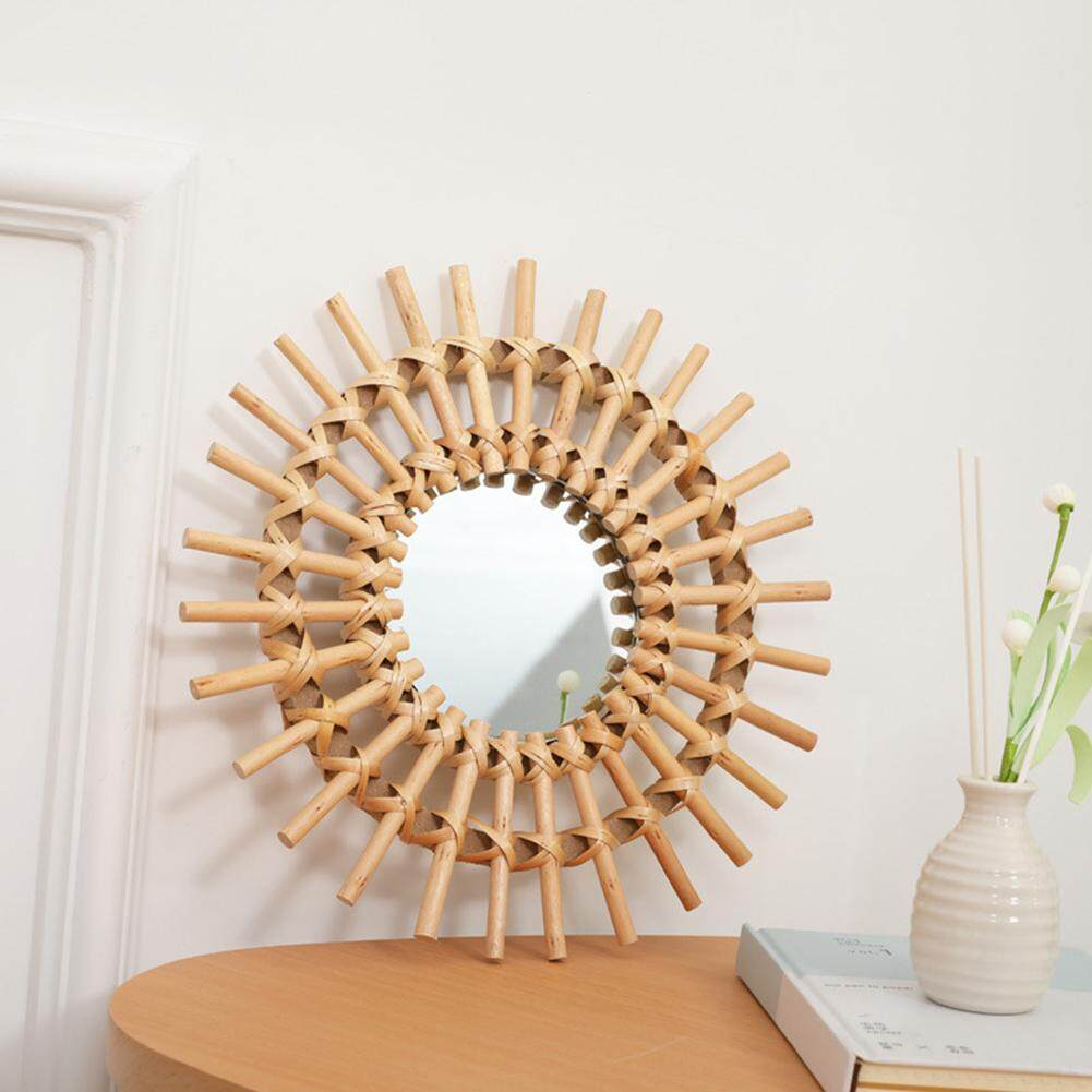 Living Room Art Deco Wall Hanging Round Rattan Dressing Bathroom Mirror