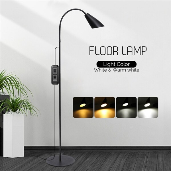 6W Adjustable LED Floor Lamp Rotatable Light Dimmable 800LM White+Warm White USB Standing Reading with Adapter,1.8M Line Home Office Desk Table
