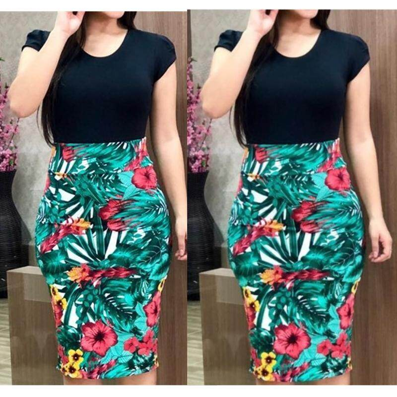 c3da8c686385 New Fashion Women Ladies Sexy Strap Splicing Color Floral Hem Package Hip  Bodycon Slim Mini Dress