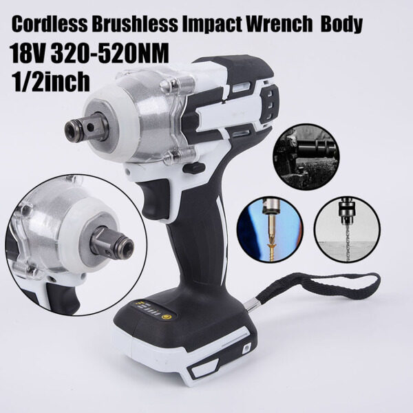 【Toolstar】18V 520Nm Cordless Brushless Impact Wrench Body No Spark At Work For Makita Without Battery