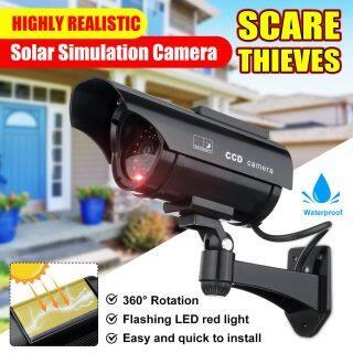 Camera Năng Lượng Mặt Trời, CCTV Giả Mô Phỏng, Giả Nhân Tạo 360 Xoay Không Thấm Nước Với Đèn LED Hồng Ngoại Đèn Nhấp Nháy An Ninh Nhấp Nháy Tại Nhà Ngoài Trời thumbnail