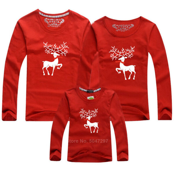 Christmas Shirt Family Matching Clothes Mommy and Me Mother Daughter Dad Couple Homewear Outfit Elk Santa Claus Xmas Party