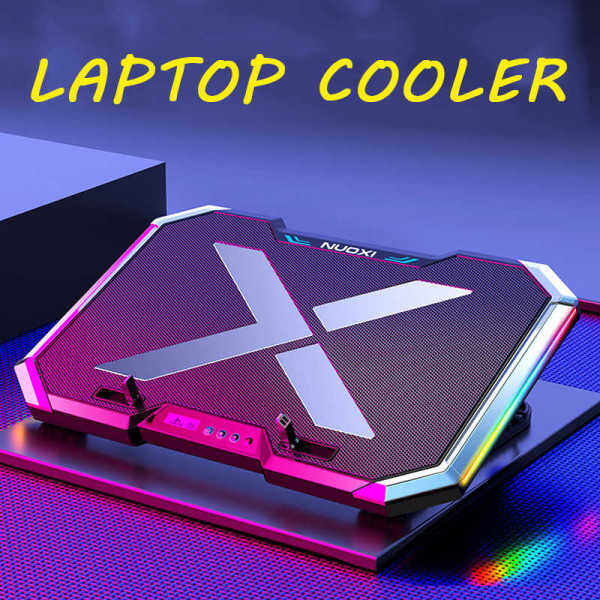 🇲🇾Ready Stock🔥 Nuoxi Q8 Notebook Cooling Pad Laptop Cooler Adjustable Stand Base RGB Colorful LED Lights + LCD Screen Malaysia