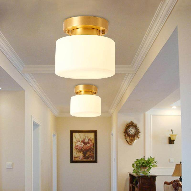 1PCS American Contemporari Ceiling Light Round Entrance Porch Vestibule Corridor Balcony Ceiling Light Fixture E27 Copper Lamp (19.5 * 18cm)