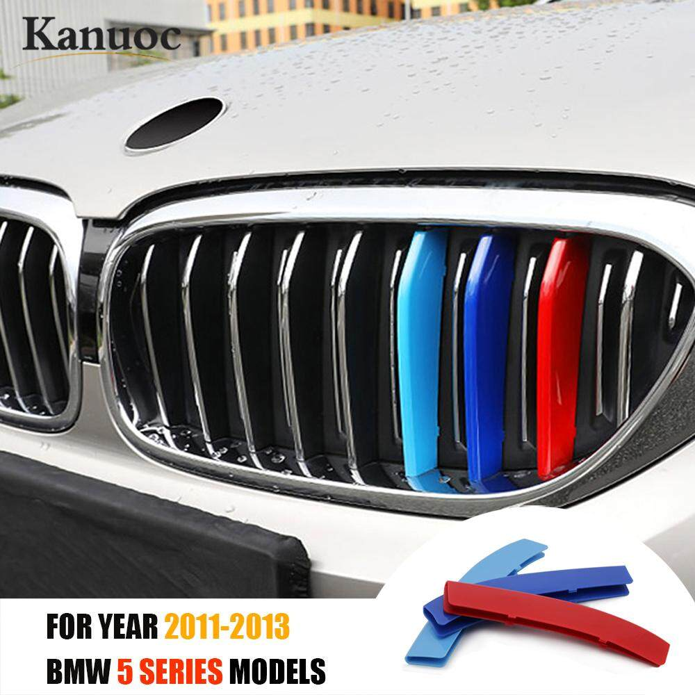 3D M Car Styling Front Grille Trim Sport Strips Cover Motorsport Power  Performance Stickers for 2011-2013 BMW 5 Series E60