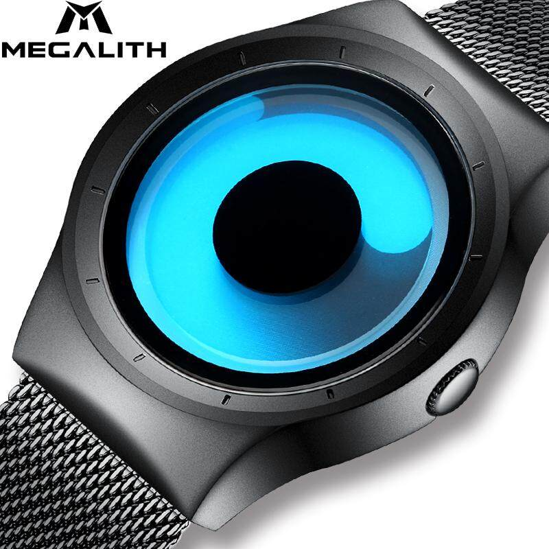 MEGALITH Quartz Watches Men Top Luxury Brand Casual Stainless Steel Mesh Waterproof 3D Creative Watches For Men Women Clock Gift Malaysia