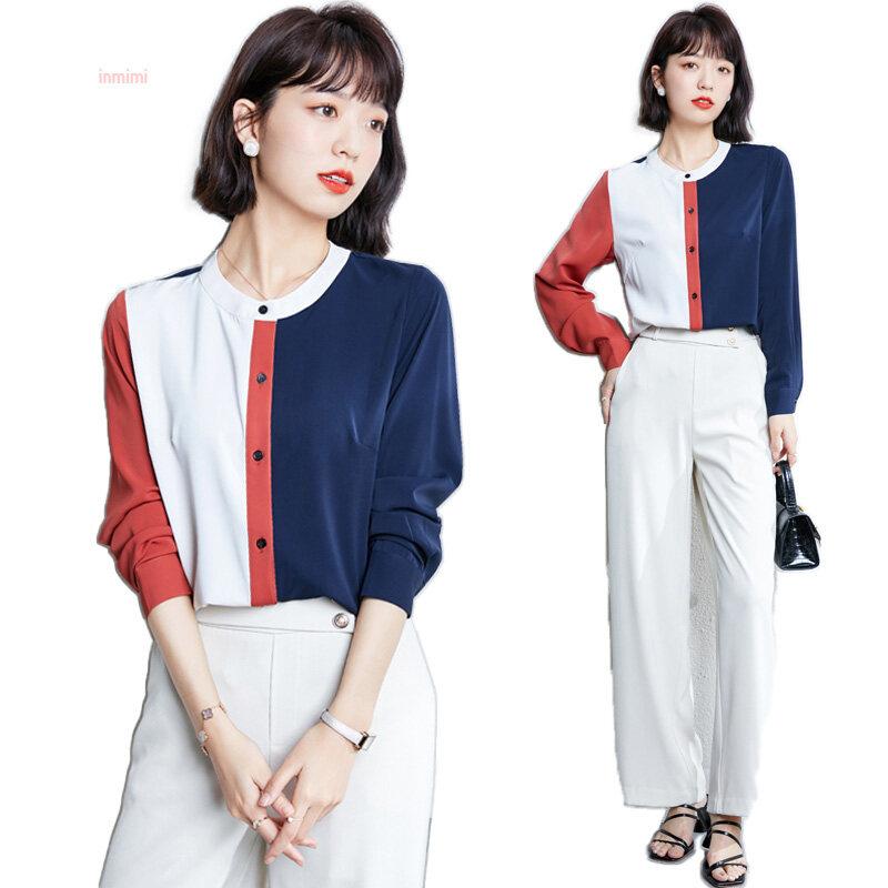 Áo thun dài tay cho nữ áo cổ tròn thanh lịch đế cardigan thời trang Đường may voan màu sắc Tương Phản áo thu đông 2019 phong cách mới hàng đầu