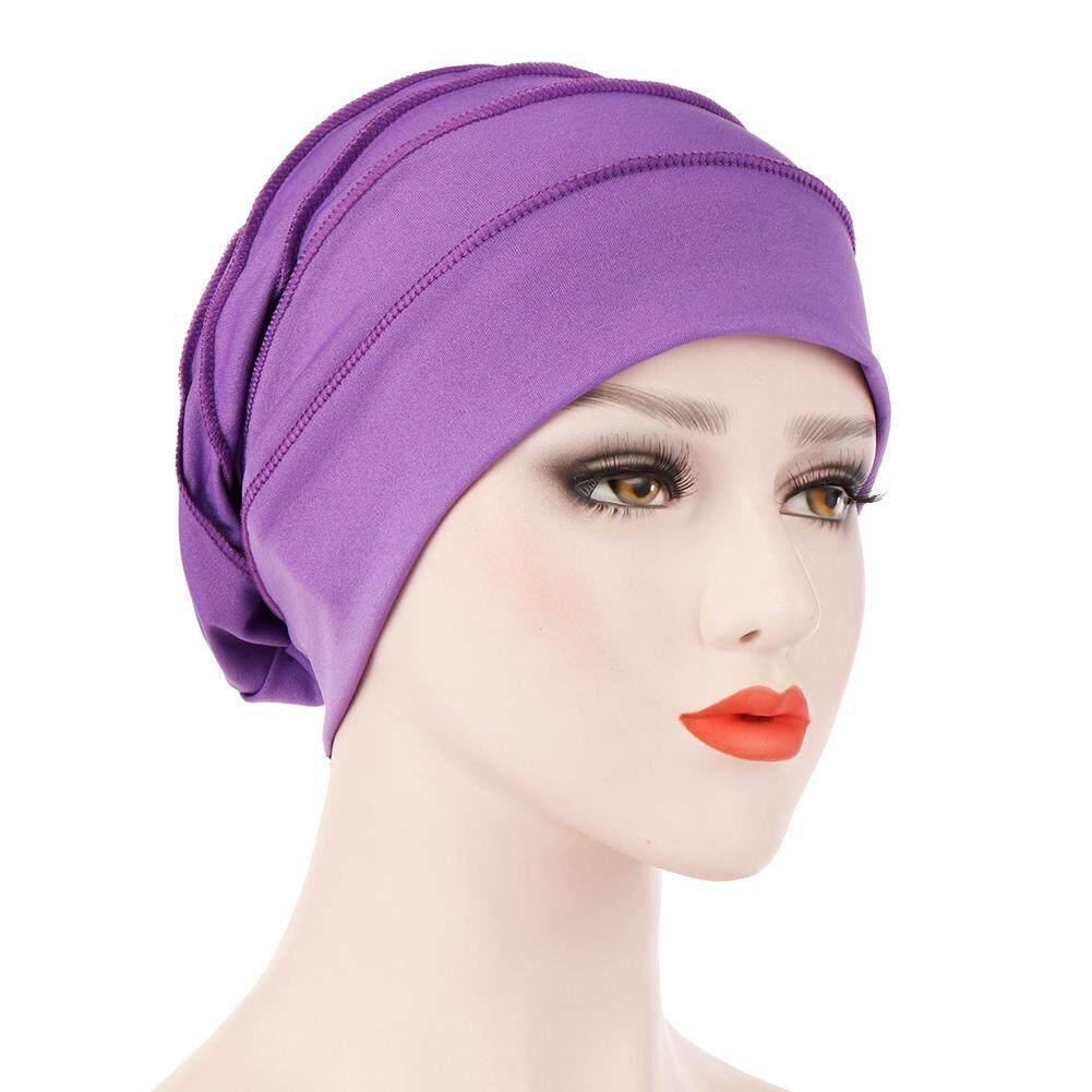 Sanwood®Sederhana Warna Solid Topi Lipat Wanita Turban Hijab Muslim Arab Syal Kepala Cap