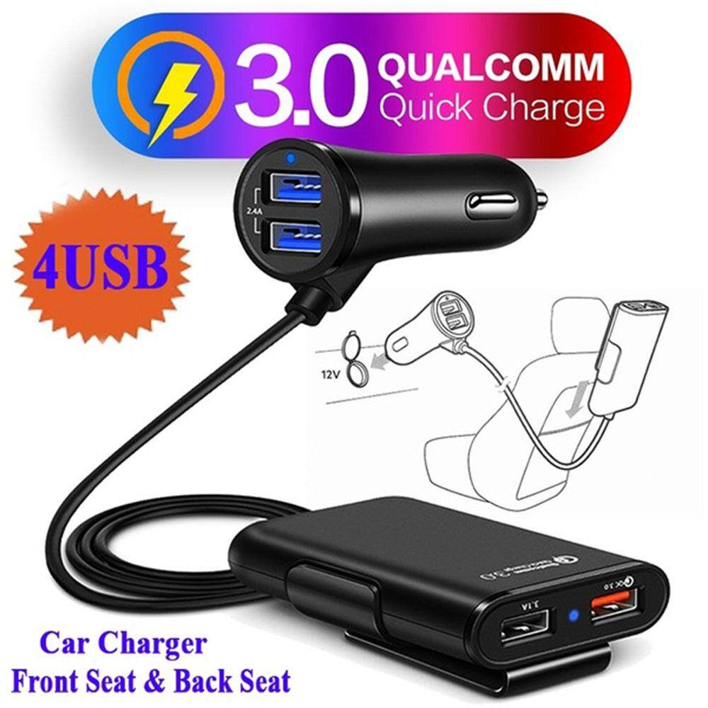 Universal 4 Ports Usb Car Charger Front Seat Back Seat Mobile Qc3.0 Quick Adapter Fast Charger By Y-Crown.