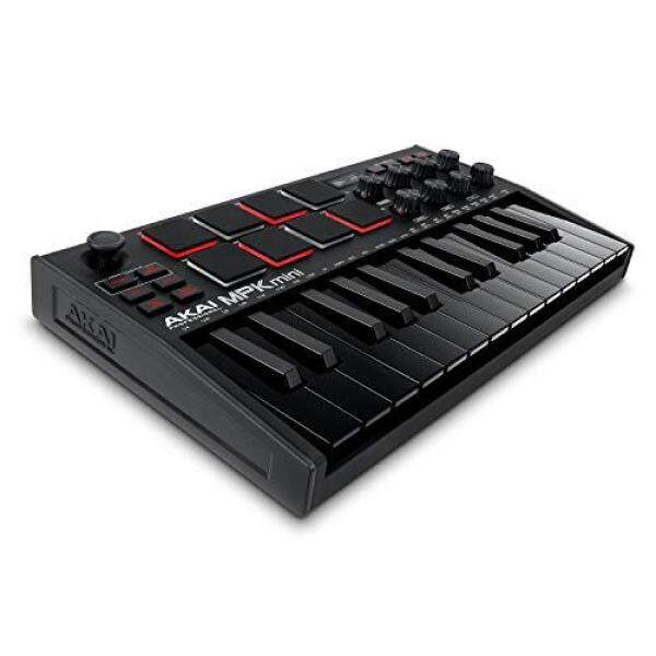 Akai Professional MPK mini mk3 - 25-key USB MIDI keyboard controller with 8 velocity-sensitive, backlit pads and 8 rotary encoder knobs with music production software Malaysia