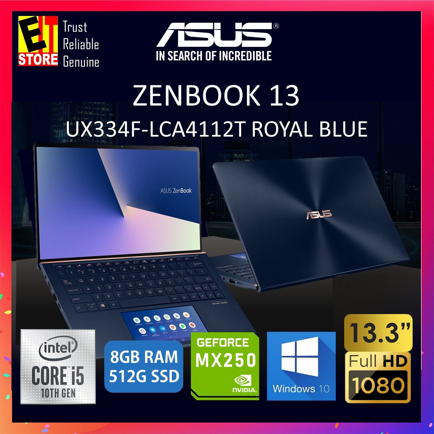 ASUS ZENBOOK 13 UX334F-LCA4112T LAPTOP -ROYAL BLUE (I5-10210U/8GB/512GB SSD/13.3  FHD/MX250 2GB/W10/2YRS) + BAG Malaysia