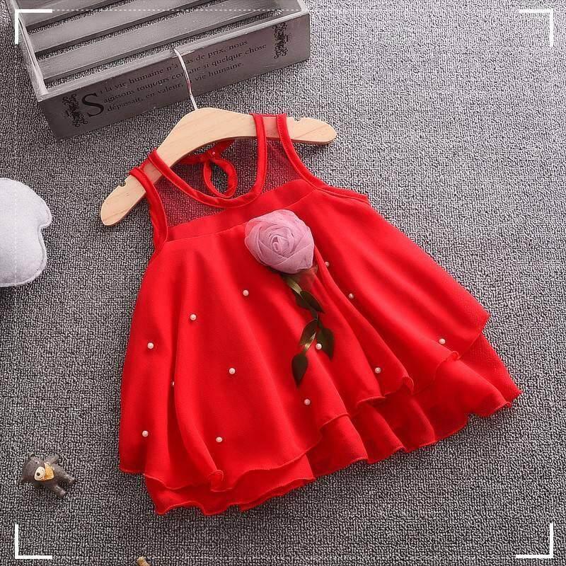 Korean Kids Girls Flower Strap Chiffon Shirt Pearl Off Shoulder Chiffon Shirt By Ropalia Store.