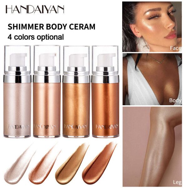 Buy HANDAIYAN Highlighter Bronzers Body Shimmering Face Body Contour Makeup Shiny for Dark Skin Liquid Illuminator Glow Oil Brighten Singapore