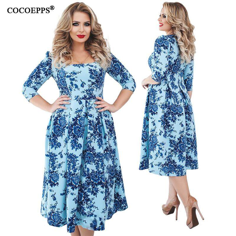 2529cfe0b02c COCOEPPS 2019 floral print Big Sizes female Floral Print Dresses 5XL 6XL  Fashion Boho femme Dress