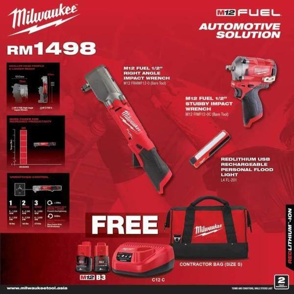 Milwaukee M12 Cordless Automotive Combo , M12FIW12 Stubby Impact Wrench , M12FRAIWF12 Right Angle Impact Wrench