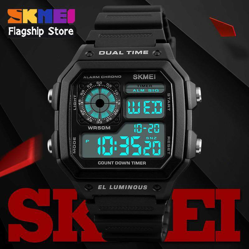 SKMEI New Men Sports Watches Digital Outdoor Watch LED Electronic Countdown Waterproof Wristwatches Men Clock 1299 Jam Tangan Lelaki/Man Malaysia