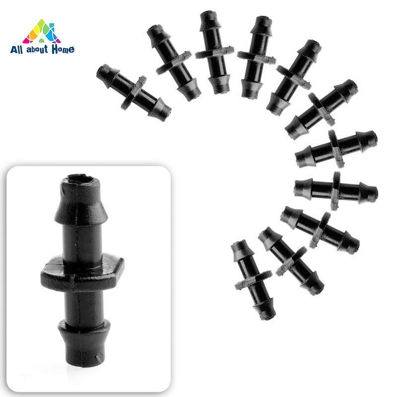 50 Pcs Barbed Double Way Connector Micro Irrigation Tube Joint Pipe Adapter