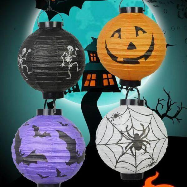 TUNIA Đồ Trang Trí Halloween Đầu Lâu Bí Ngô Tự Làm Đèn Treo Trang Trí Halloween Vườn Đèn Lồng Kinh Dị Đồ Dùng Tiệc Halloween Đèn Lồng Giấy