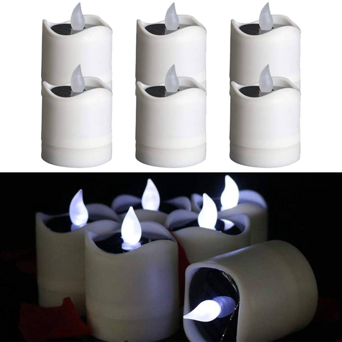 6 Pcs Solar Led Flameless Candles Light Waterproof For Wedding Christmas Halloween Party Decor Flicker Cool White Light Lazada