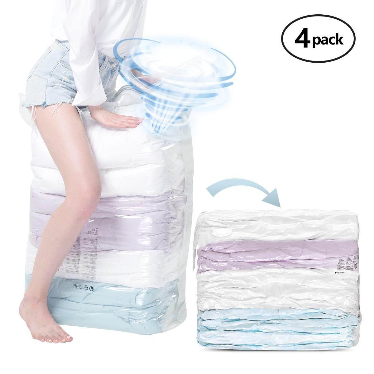 TAILI 4 Pack No Pump Needed Cube Vacuum Storage Compression Bags Travel Space Saver Bag Compressed Bag Mothproof Moistureproof Closet Organizer 50x70x30cm