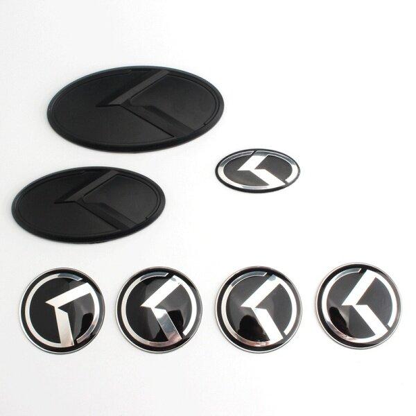 7 cái/bộ Biểu Tượng nhãn dán cho KIA K dấu hiệu K5 K3 K4 K9 Shuma Forte Phía Trước biểu tượng phía sau Bánh Xe trung tâm trung tâm Bìa Xe Head Tail huy hiệu màu đen Mờ