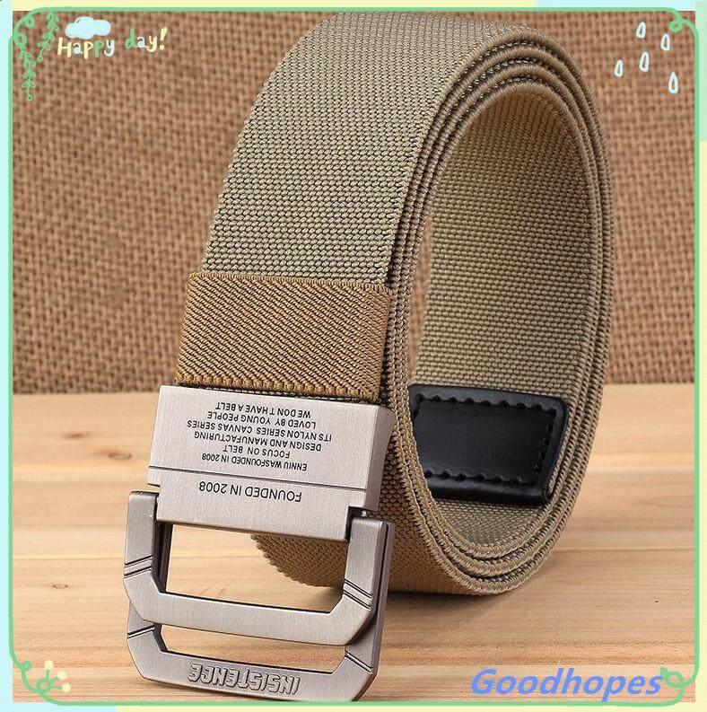 Men canvas belt Alloy buckle Double ring Nylon elasticity military belt  Army tactical belts for Men fashion Male strap