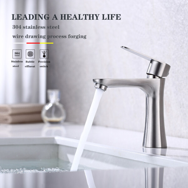 Direct Deal  304 Stainless Steel Faucet Single Cold Basin All Copper Toilet Wash Basin Faucet